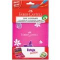 Estojo Escolar Lapis cor faber-castell 12 cores 1 Ecolápis + Borracha + 2 Canetas + 1 Apontador com depósito + régua cor rosa